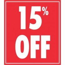STICKER 15% OFF RED (250)