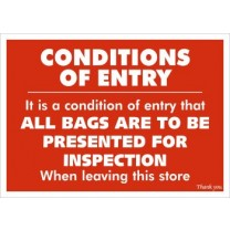 Conditions of Entry / Inspect Bags Sign