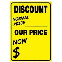Fluoro Yellow Discount Sticker