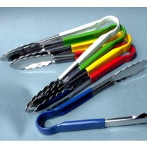 Colour coded metal tongs