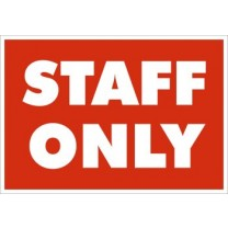 A5 SIGN - STAFF ONLY